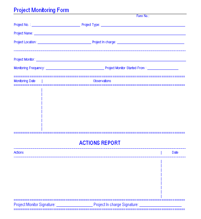 Project monitoring form
