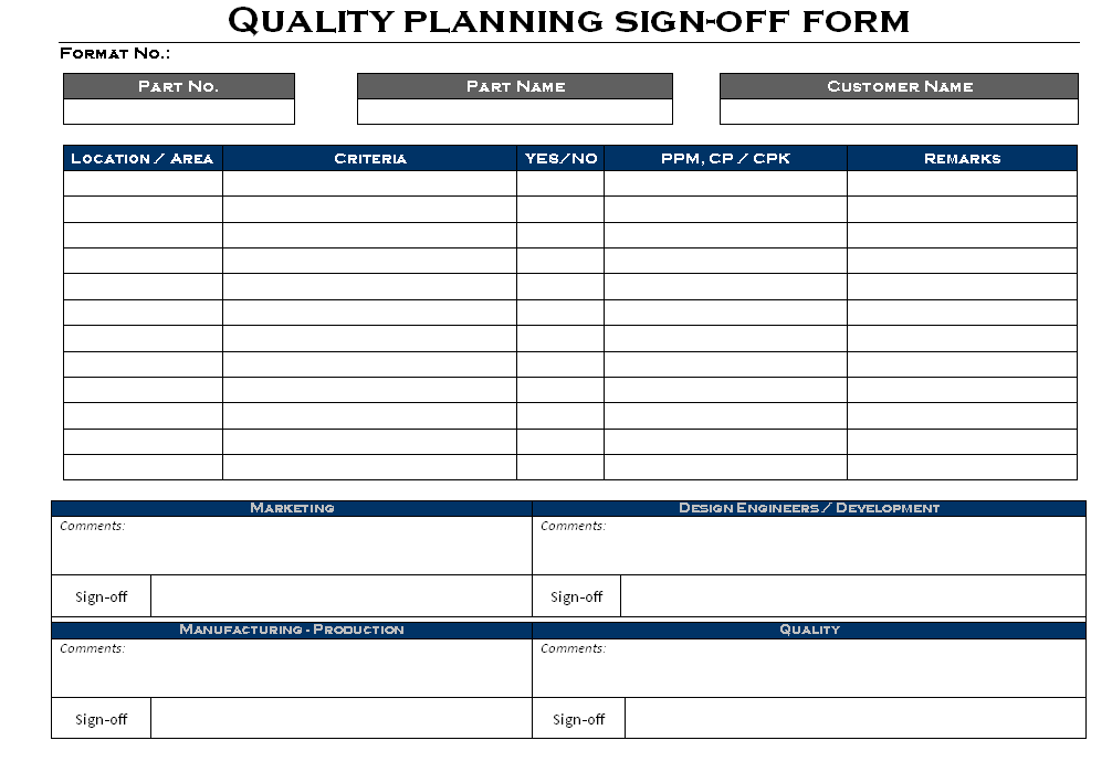 Quality planning sign-off form