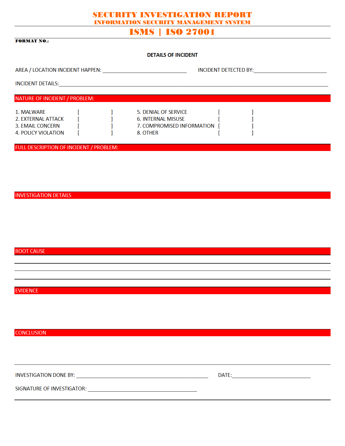 Security Investigation Report - Regarding Physical Security Report Template