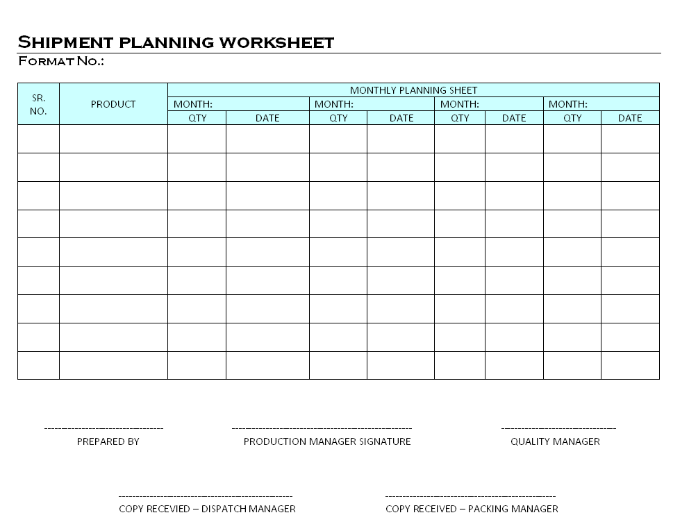Shipment planning worksheet shipment planning worksheet pronofoot35fo Gallery