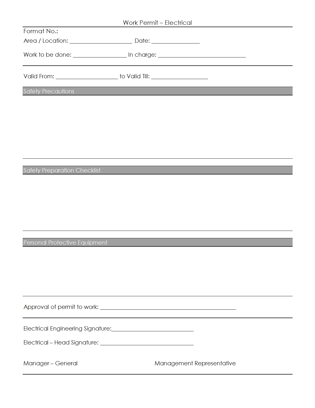 Amazing confined space permit template images example for Energized electrical work permit template