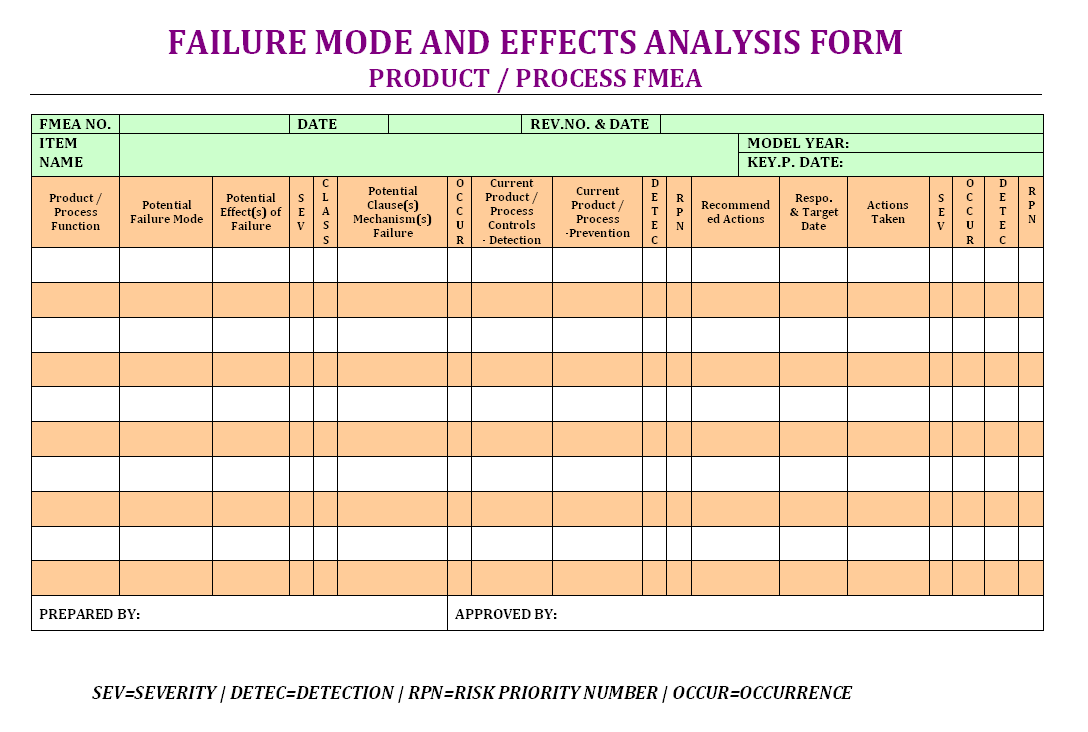 Failure mode effects analysis form, PFMEA