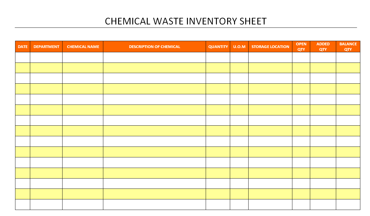 Chemical waste inventory sheet for Hazardous substance register template