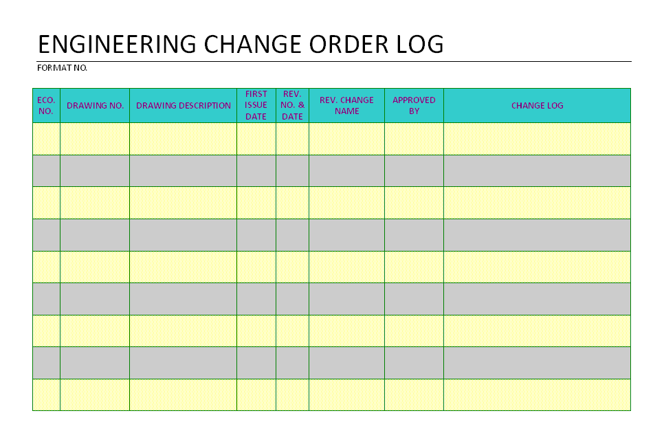 Engineering Change order log