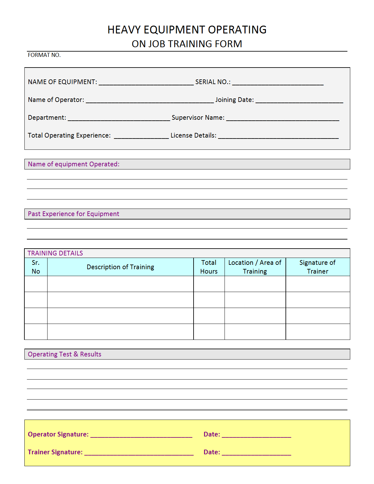 Heavy Equipment Operator training form