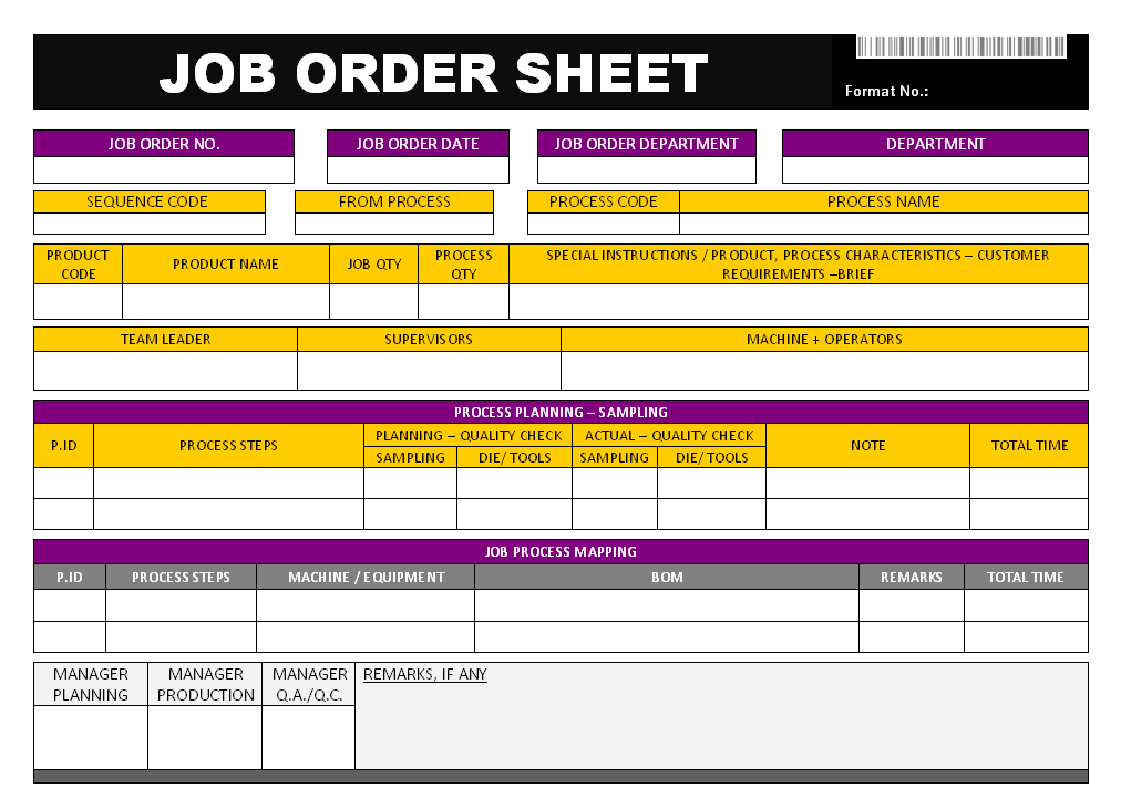 Job Order Sheet In Word Doent Free