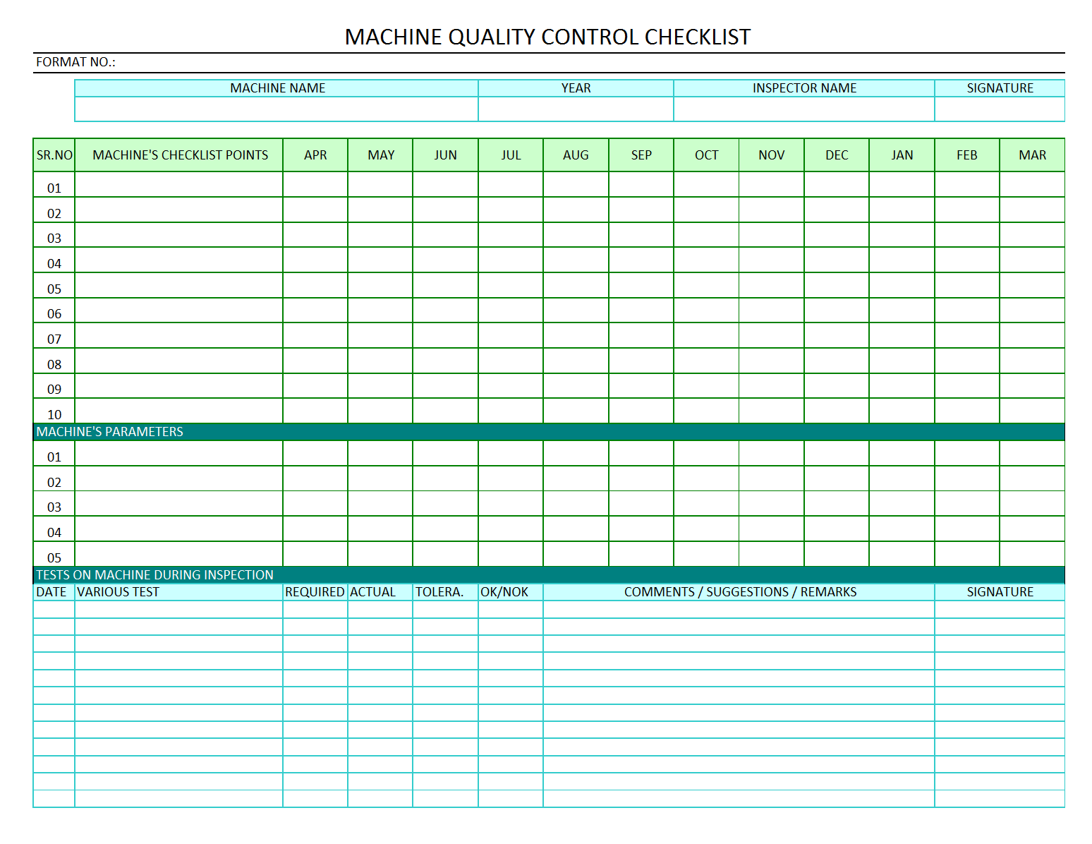 Machine quality control checklist quality audit of machine for Quality control check sheet template