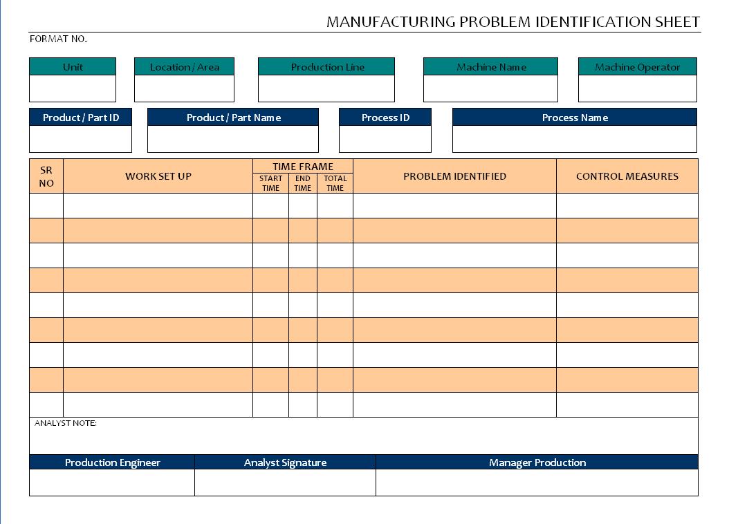 Manufacturing Problem identification Sheet