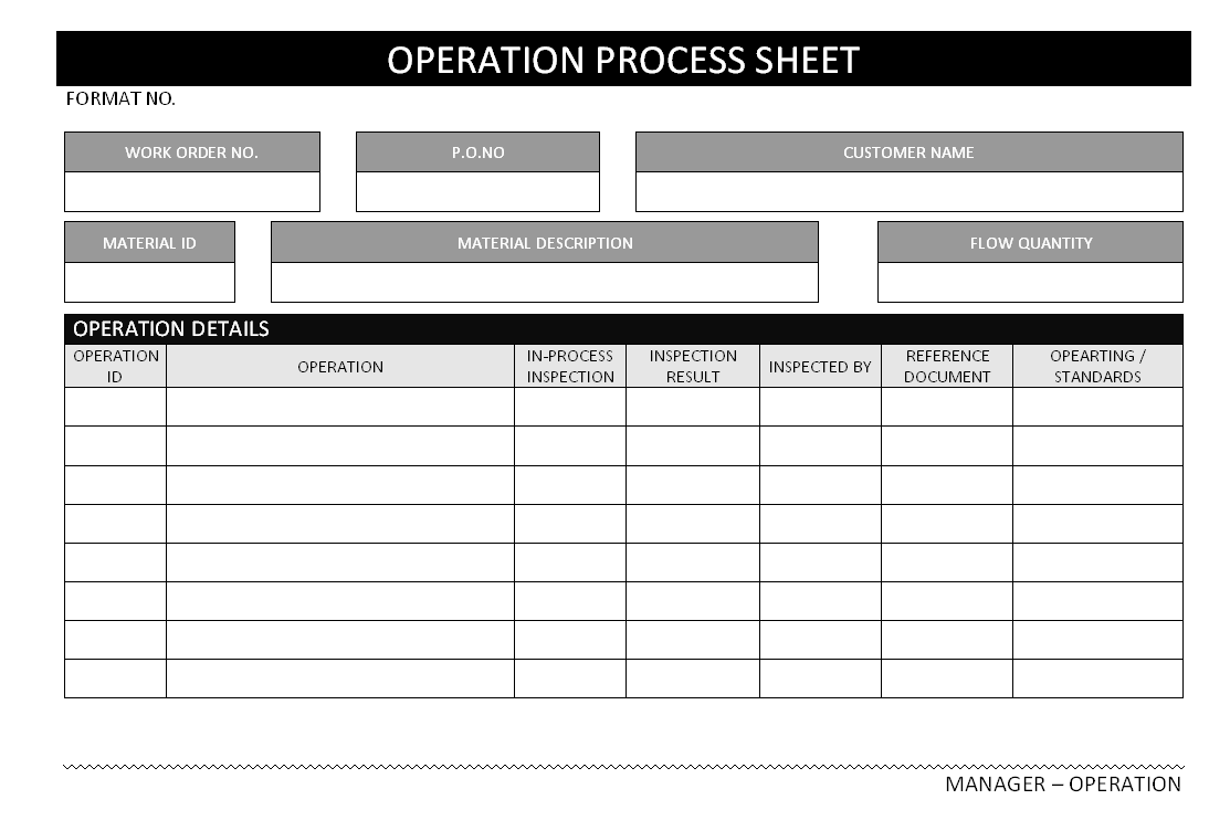 process sheet template - Selo.l-ink.co