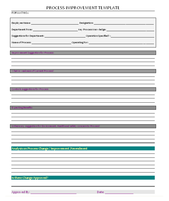 quality improvement report template - process improvement template