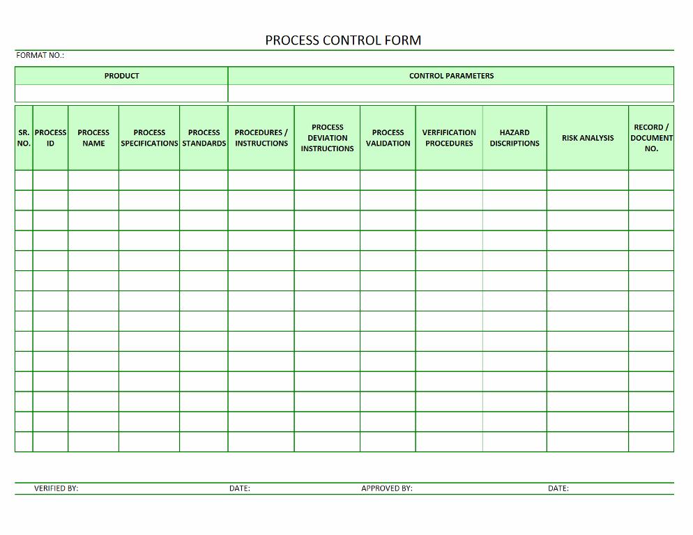Process Control Form