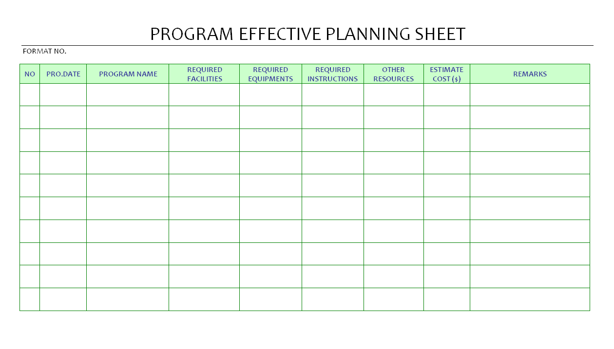 Program effective planning sheet