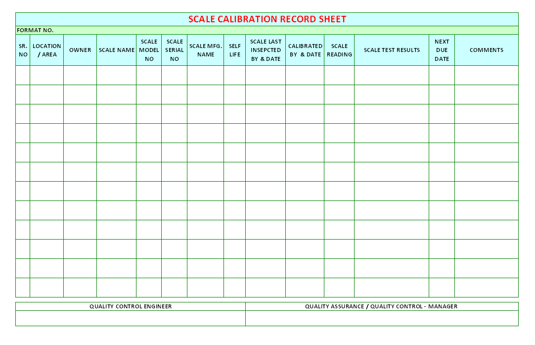 Scale Calibration Record Sheet