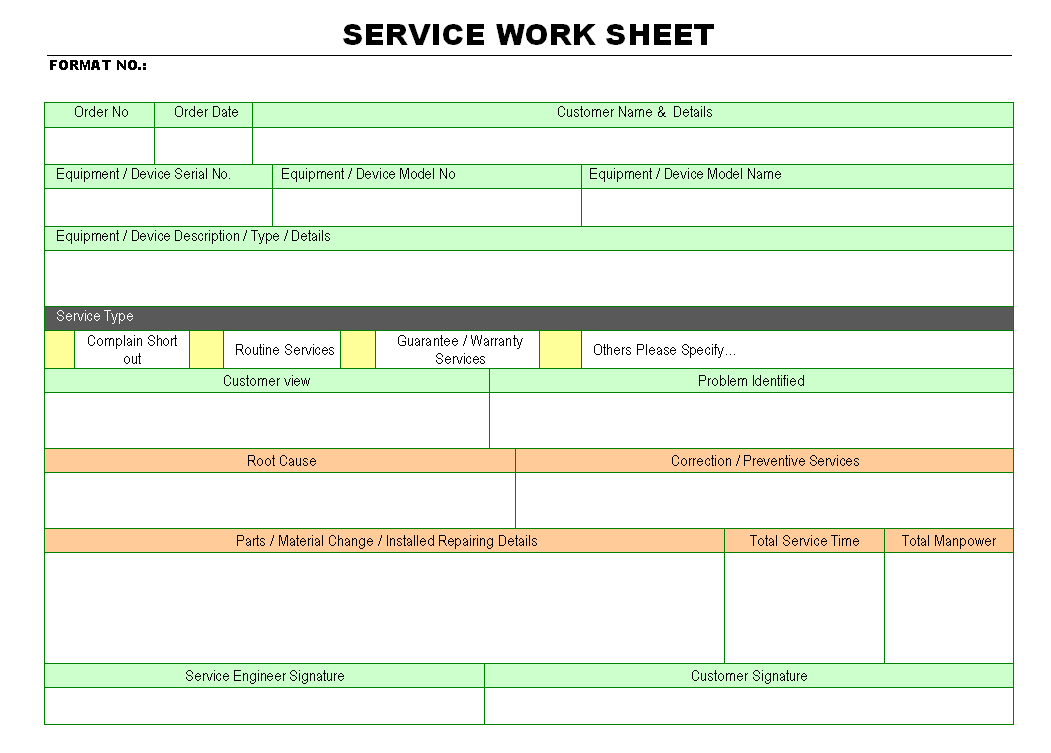 Service work sheet