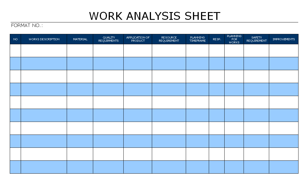 work analysis sheet. Black Bedroom Furniture Sets. Home Design Ideas