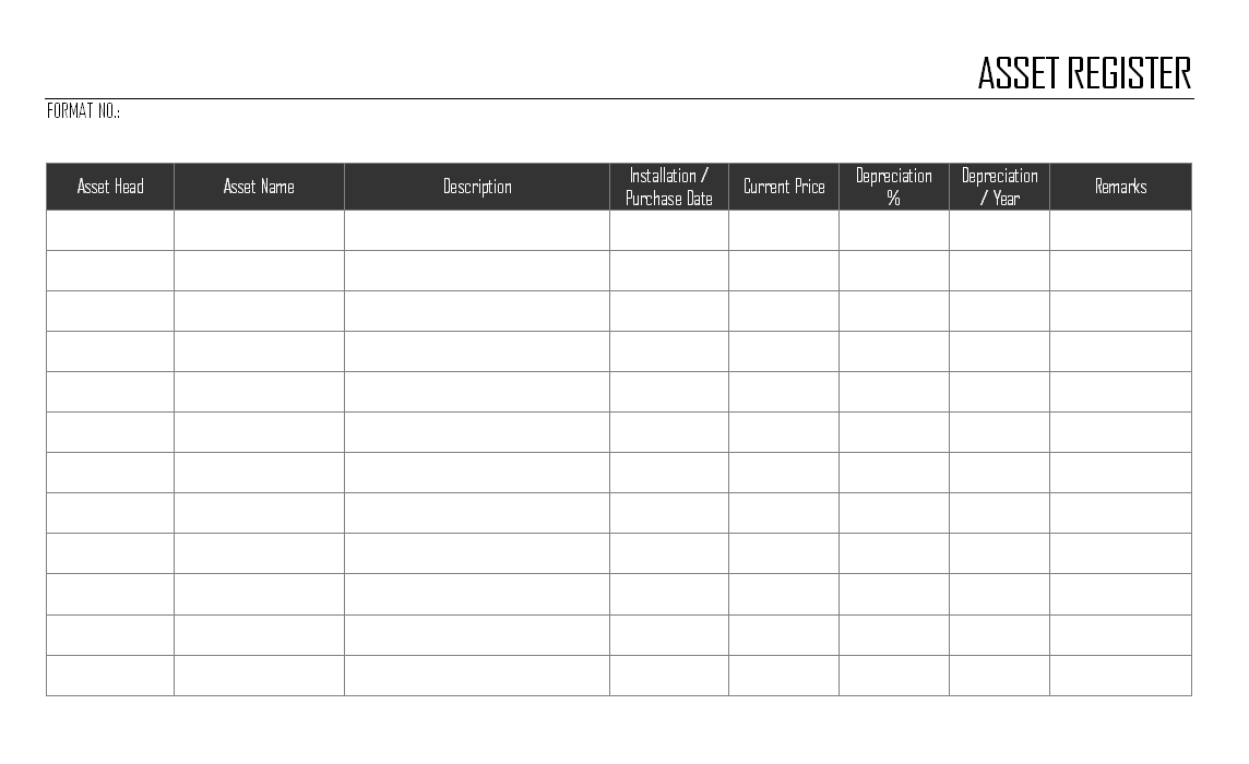 Asset register for Document register template free