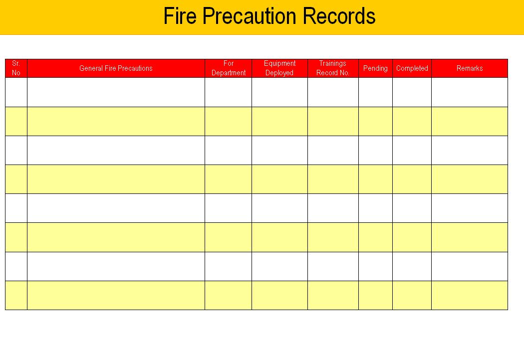 Fire Precaution Record sheet