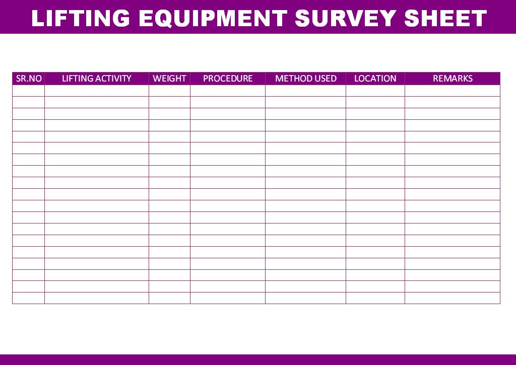 Lifting equipment survey sheet