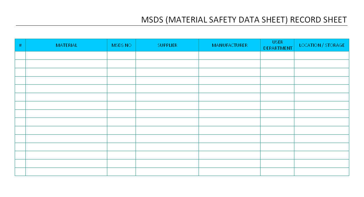 Msds record sheet for Hazardous substance register template