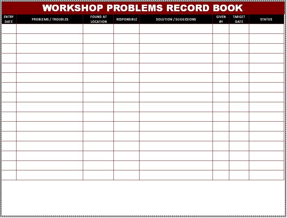Workshop Problems record book