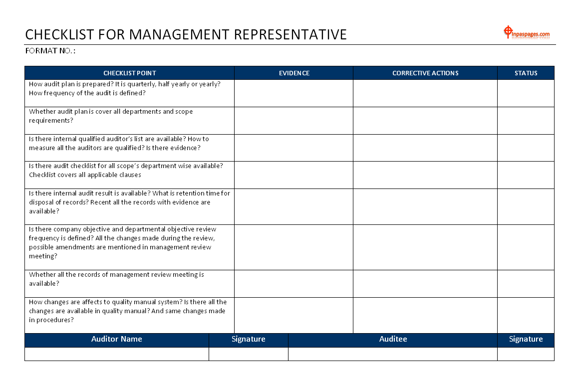 Management representative audit checklist - ISO 9001 / ISO TS 16949