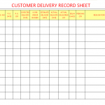 Customer delivery record sheet