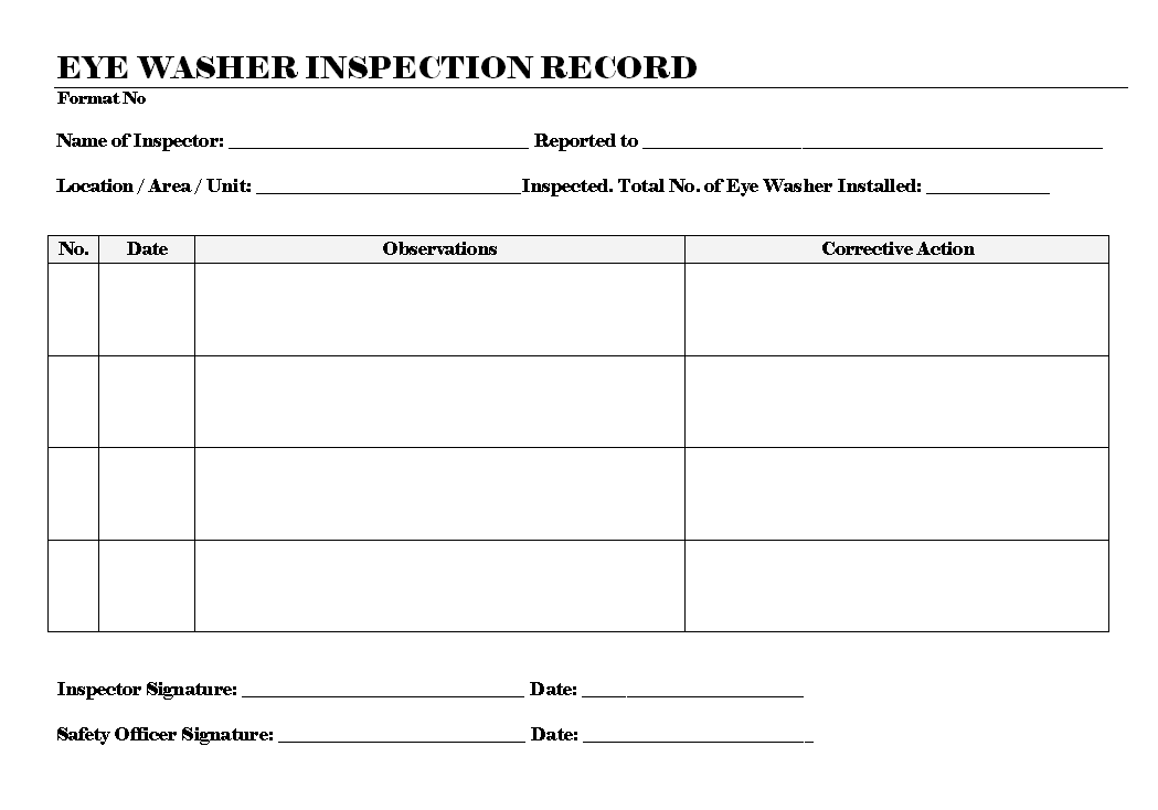 Eye Washer Inspection Record