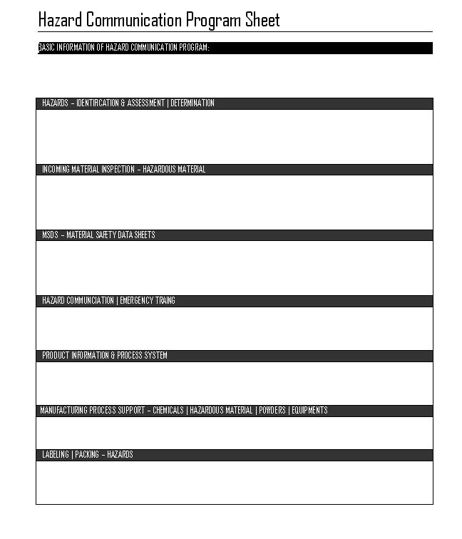 Hazard communication program sheet