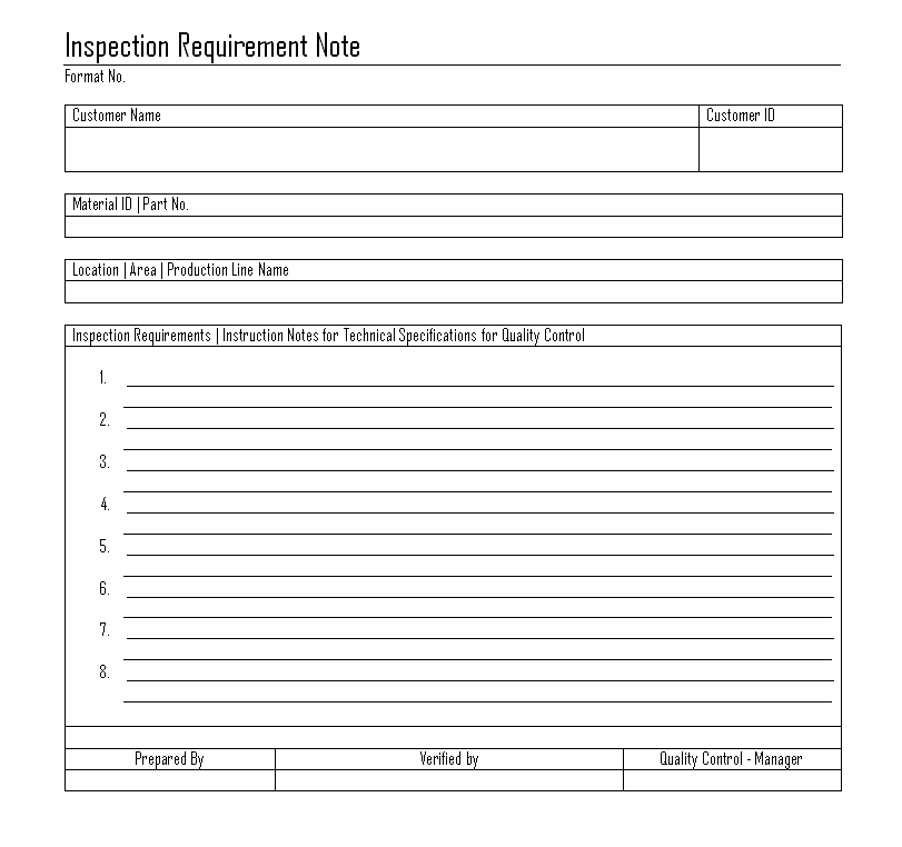 Inspection Requirement Note