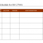 Internal Audit schedule for ISO 27001