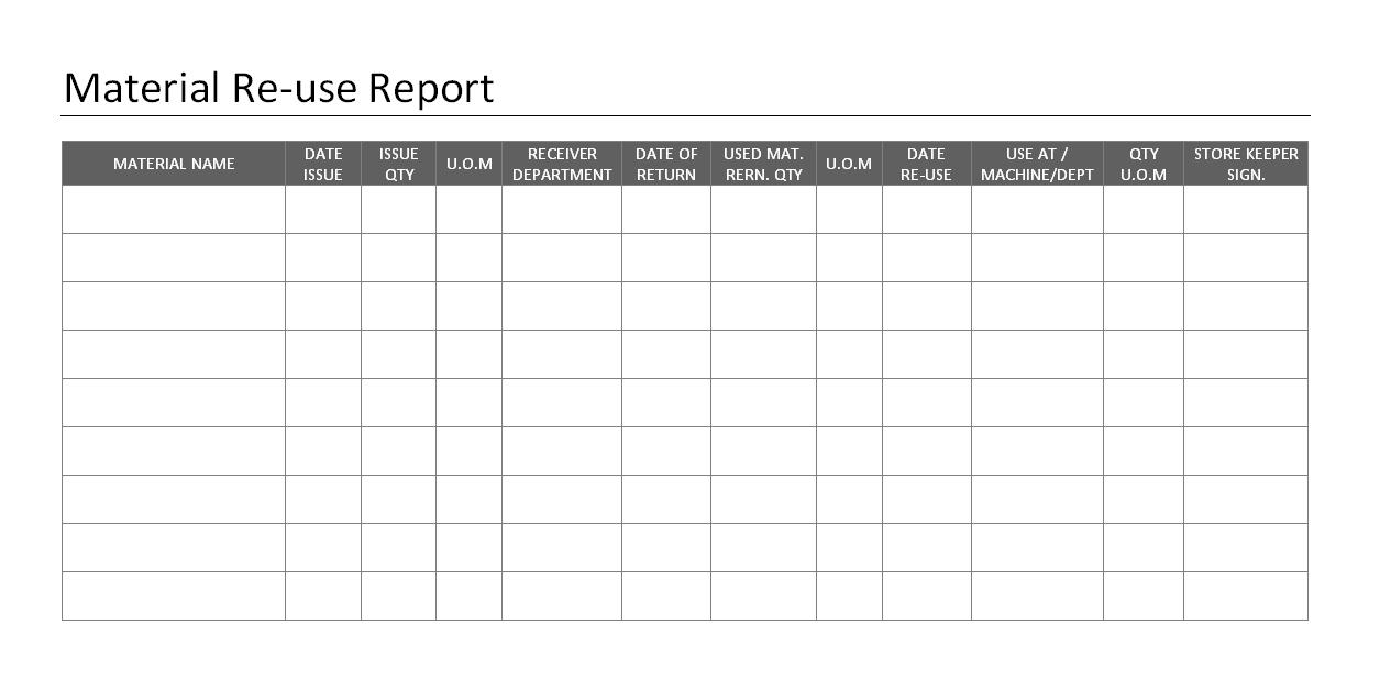 Materials reuse report