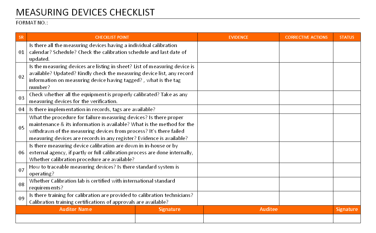 Measuring Device Checklist