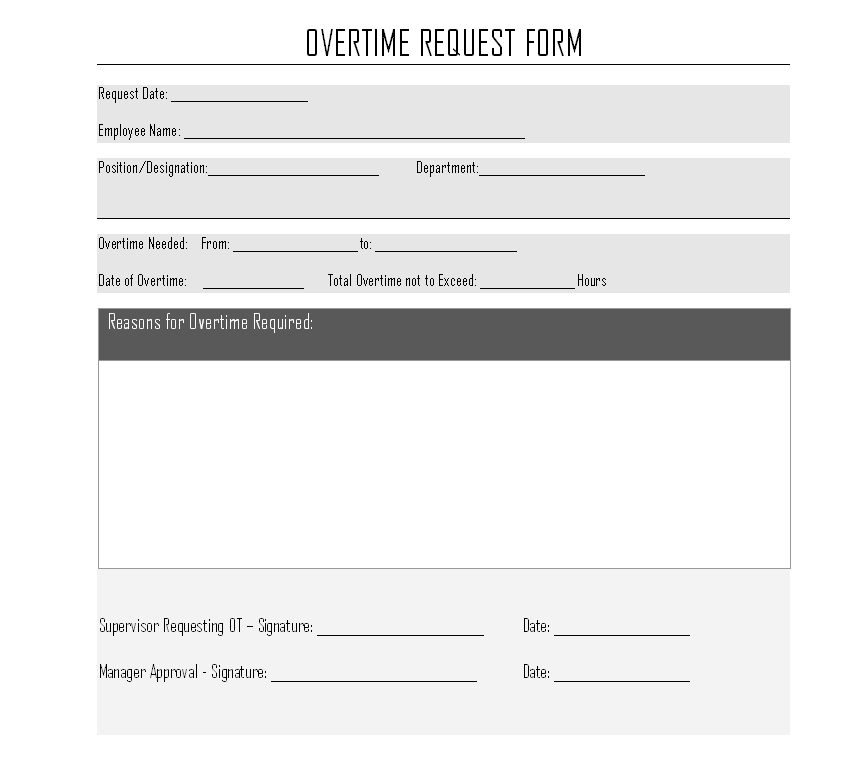 overtime authorization form  Overtime Request Form -