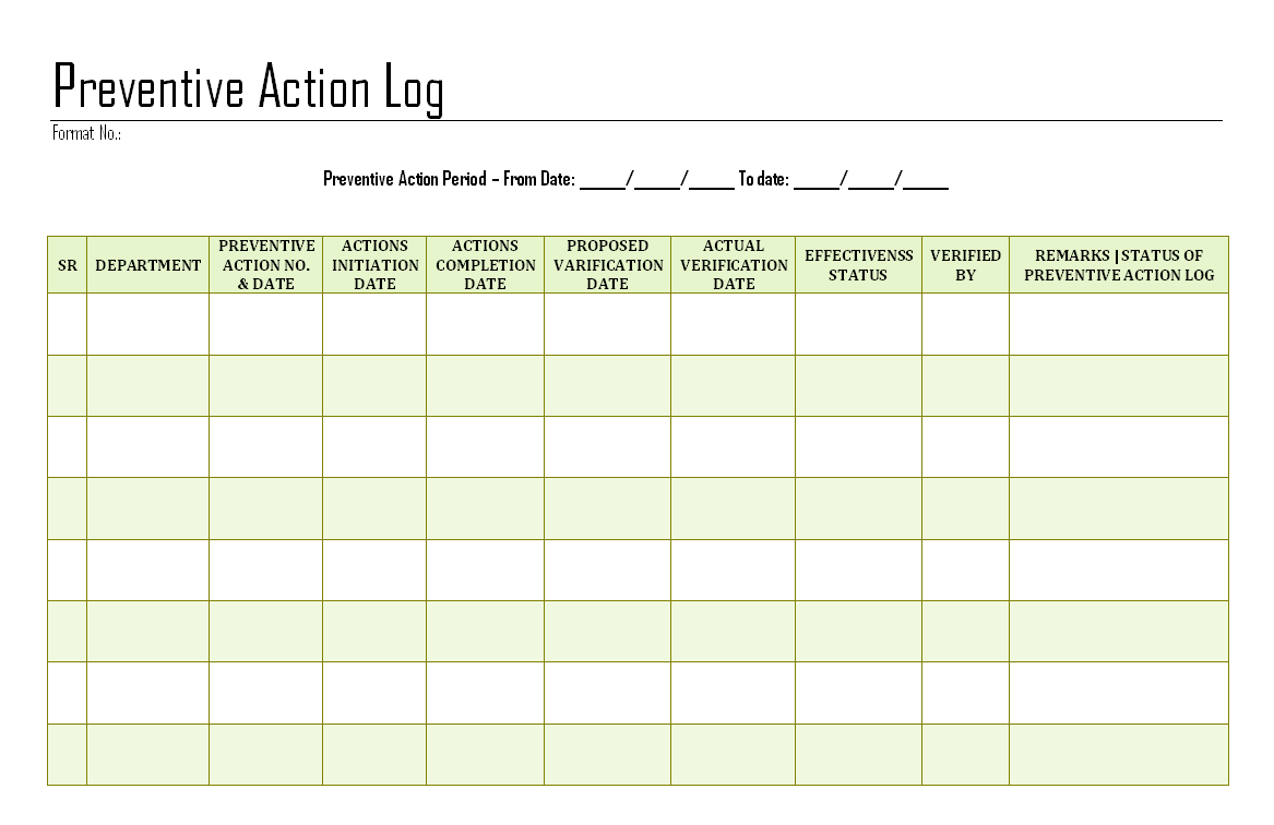 Preventive action log for Preventive action plan template