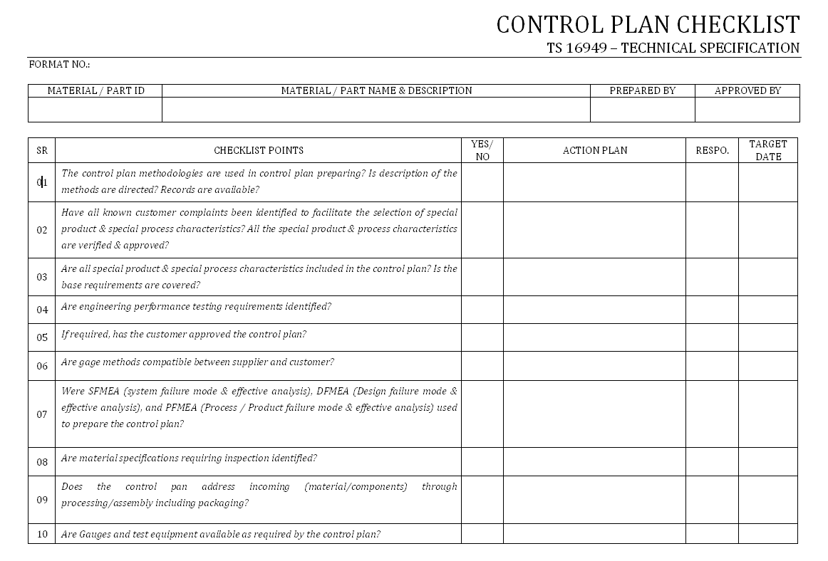 Control Plan Checklist Free Examples Samples