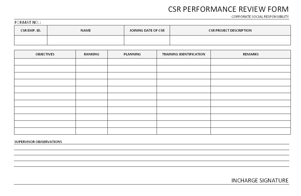 Performance Review Document  Employee Review Form Free Download