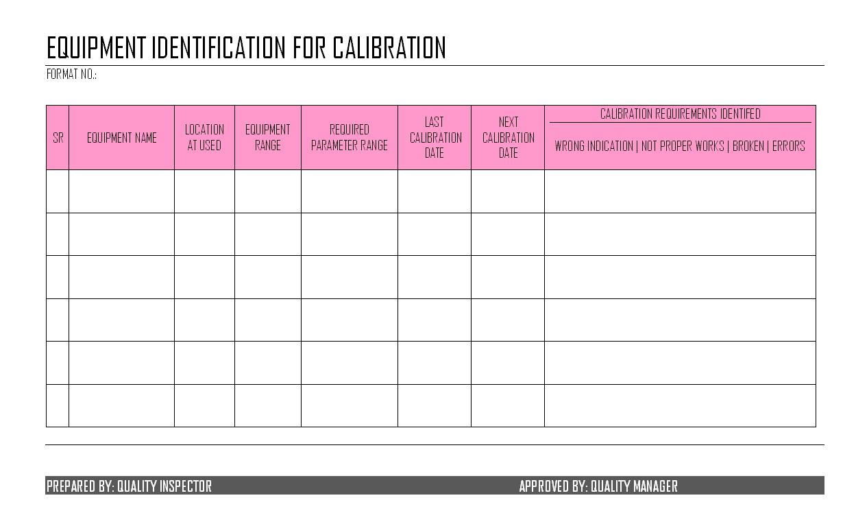 Equipment Identification for Calibration