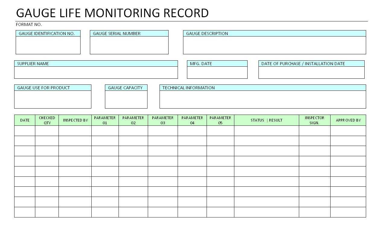 Gauge life monitoring record