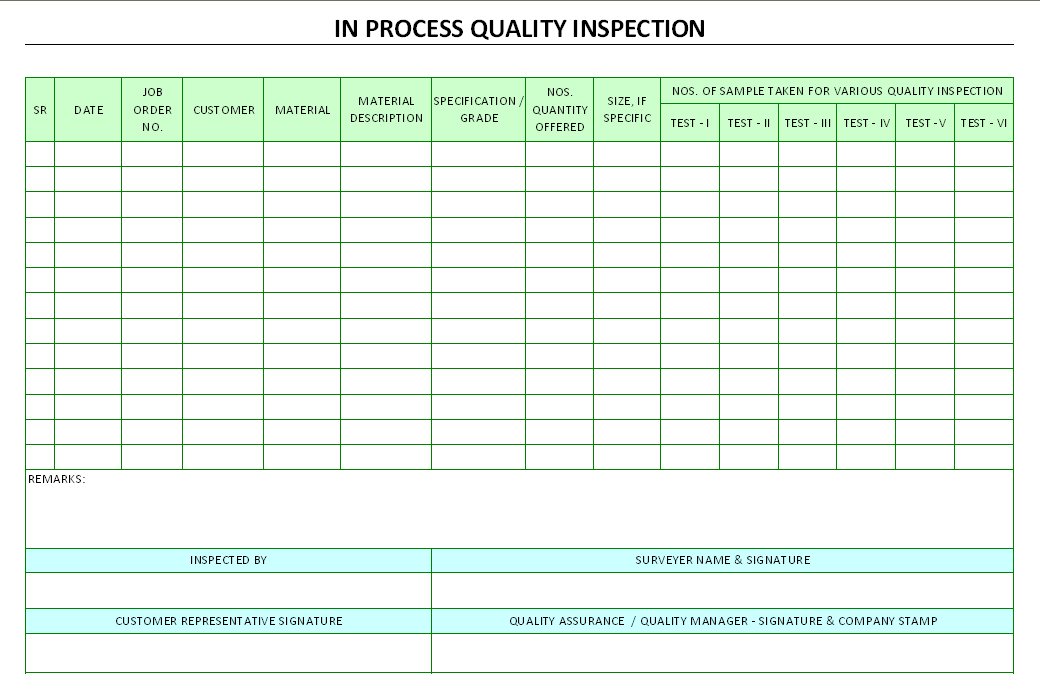 In process quality inspection for Quality control check sheet template