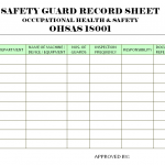 Safety Guard Record Sheet