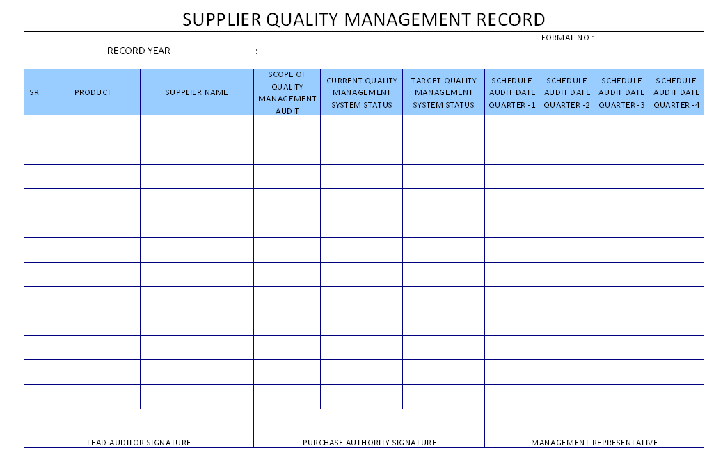 Supplier Quality Management Record
