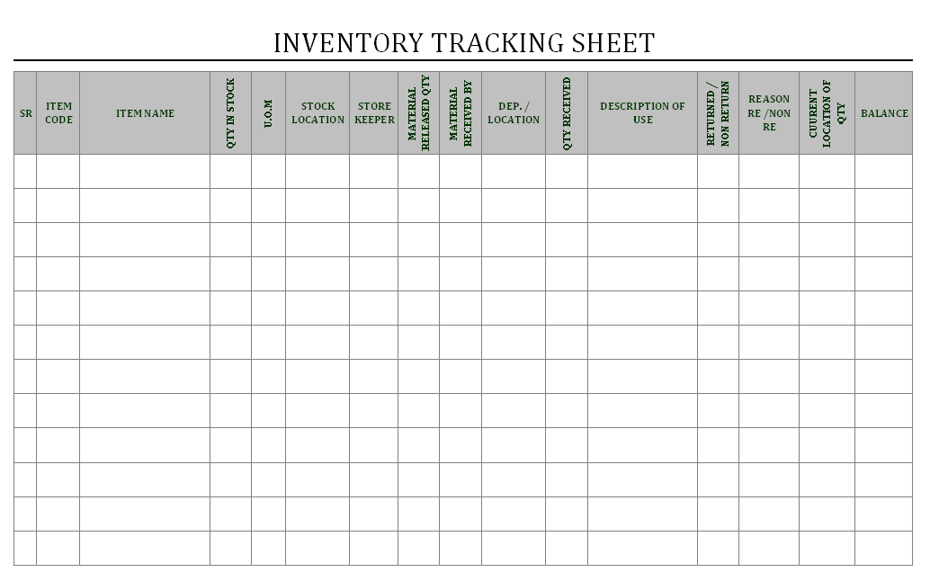 Printables Inventory Control Worksheet inventory tracking sheet management sheet