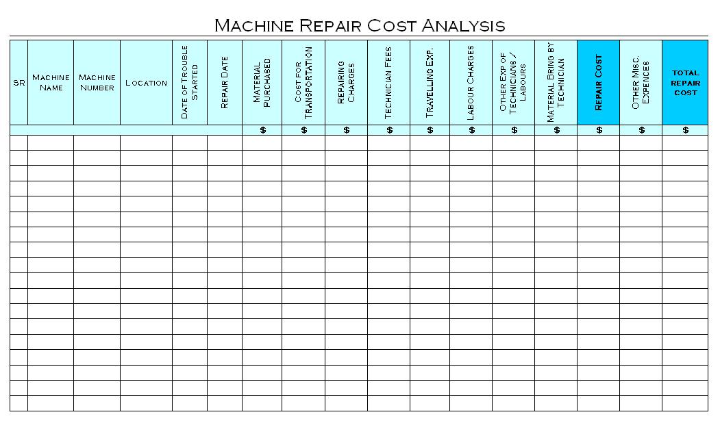 Machine Repair Cost Analysis