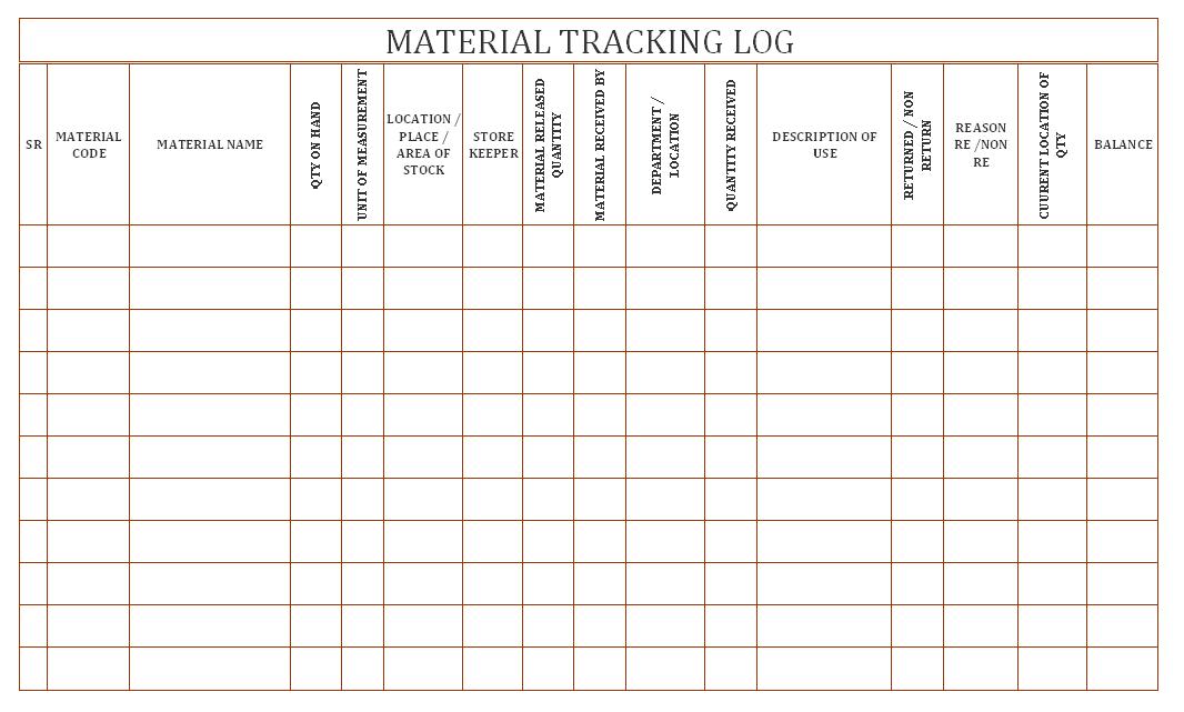 material tracking log