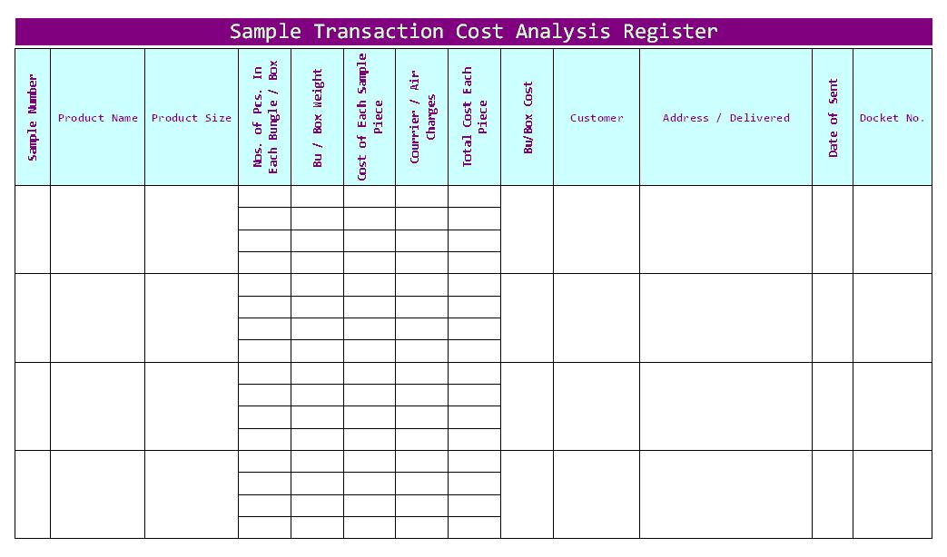 Sample Transaction cost analysis register