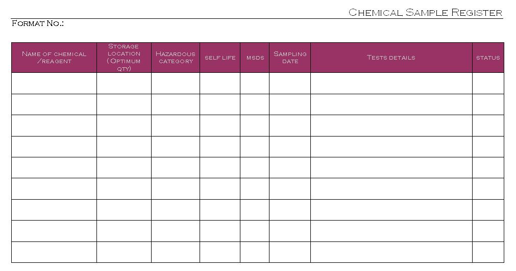 Chemical Sample Register -