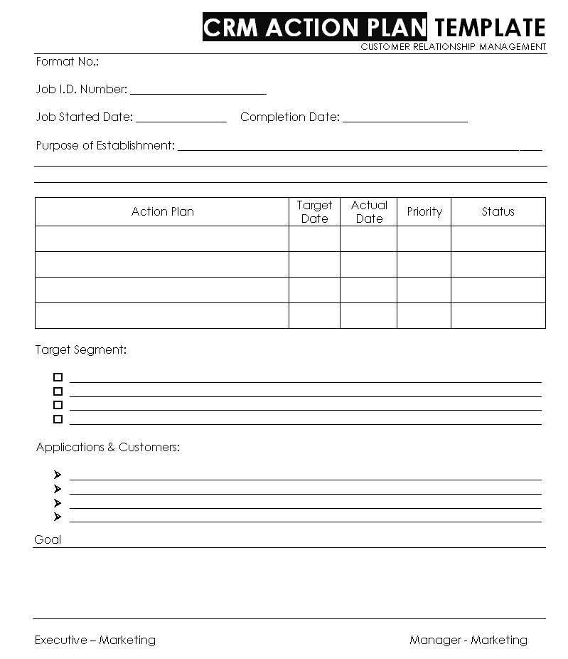 CRM ACTION PLAN TEMPLATE - Customer Relationship management