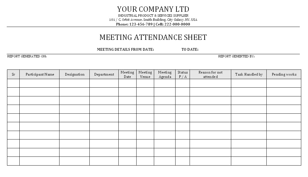 meeting attendance form