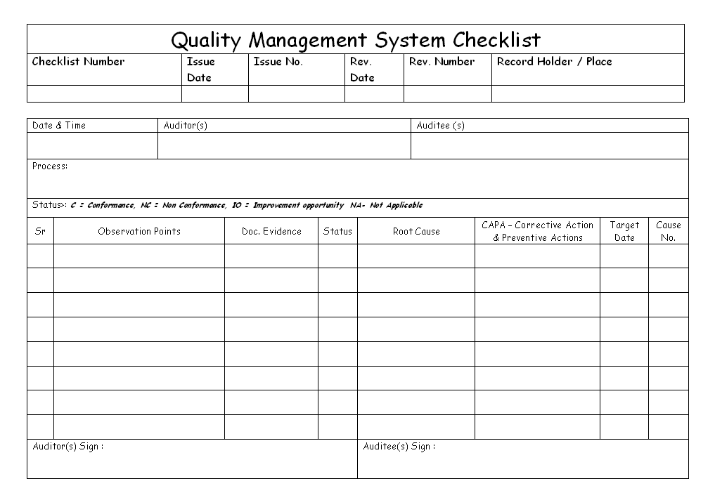 Quality management system checklist for Quality control check sheet template