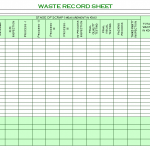 Waste Record sheet